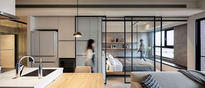 sử dụng cửa kính trượt cho nội thất chung cư